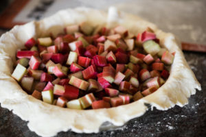 fresh rhubarb in pie shell
