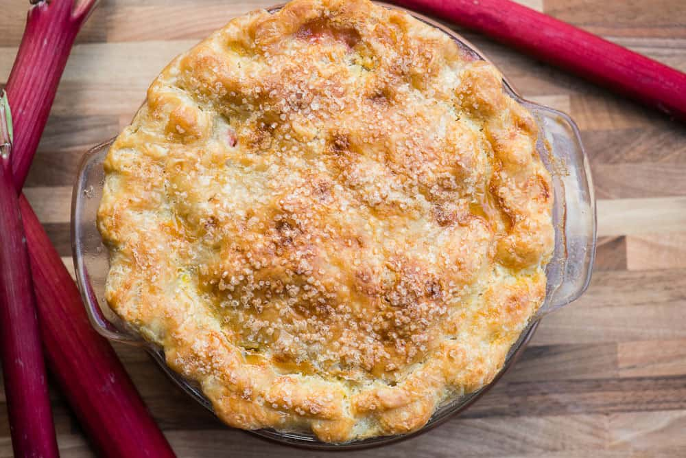 whole baked rhubarb pie
