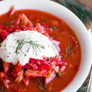 bowl of borscht with sour cream