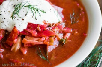 borscht with sour cream and vegetables