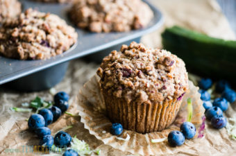 Homemade Zucchini Blueberry Muffins with Stresel Topping