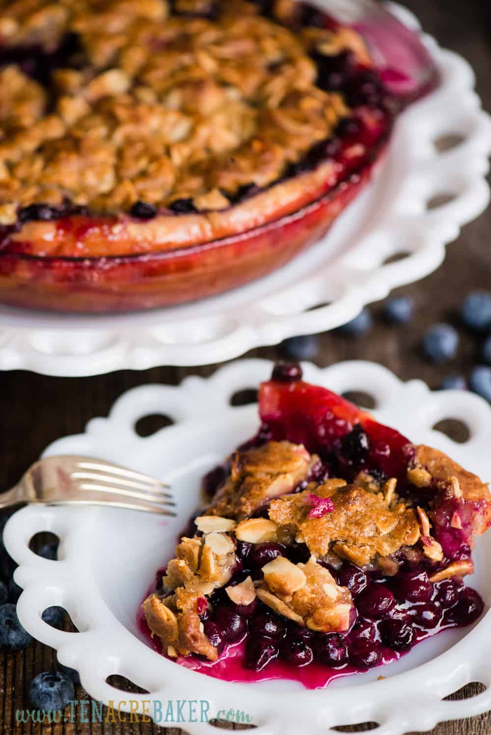 homemade bluberry pie with crumble topping