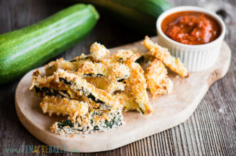 Tray of parmesan zucchini fries with dipping sauce