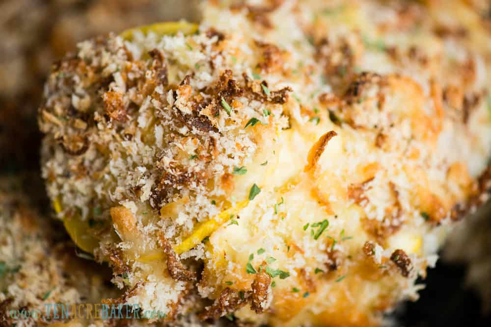 scoop of summer squash casserole with crispy topping