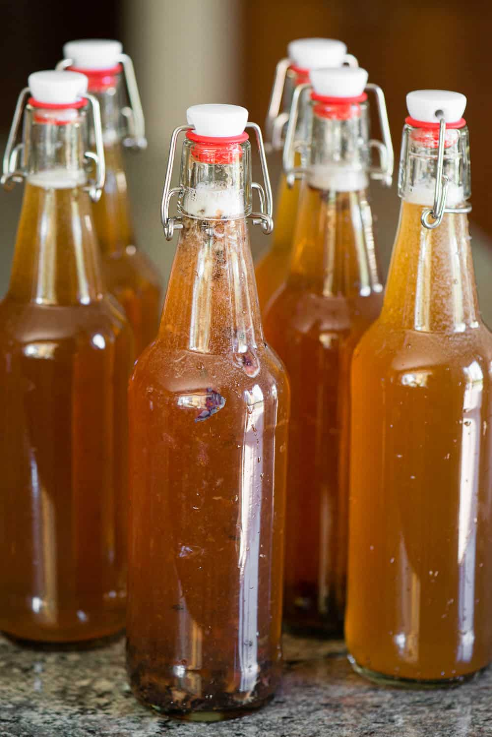 capped bottles of homemade kombucha