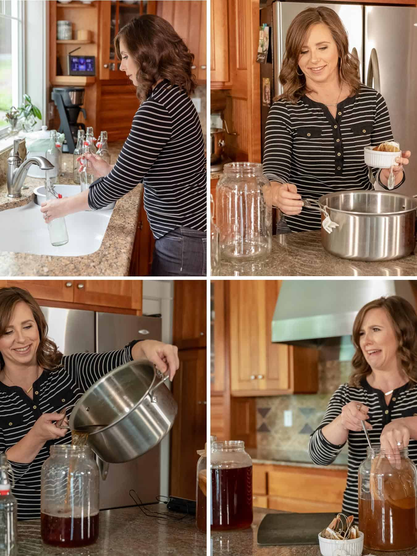photos of me making kombucha from sweet tea