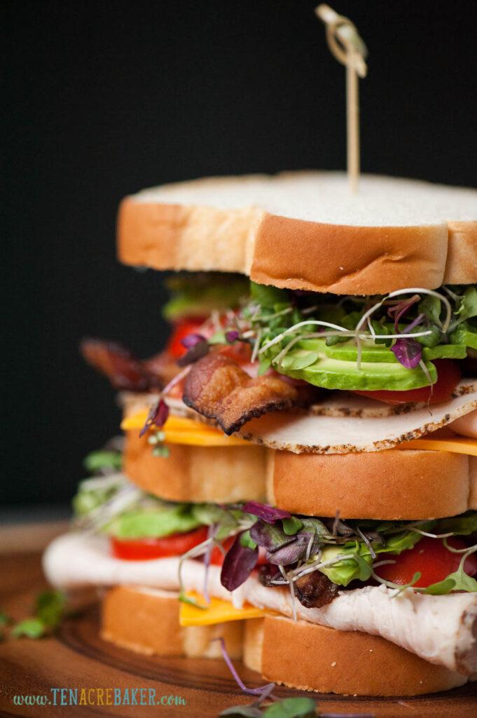 club sandwich with bread, bacon, turkey, avocado