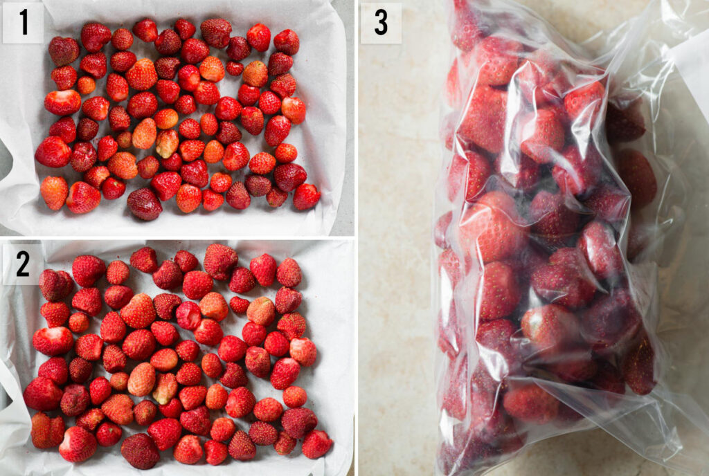 step by step photos of How to Freeze Strawberries