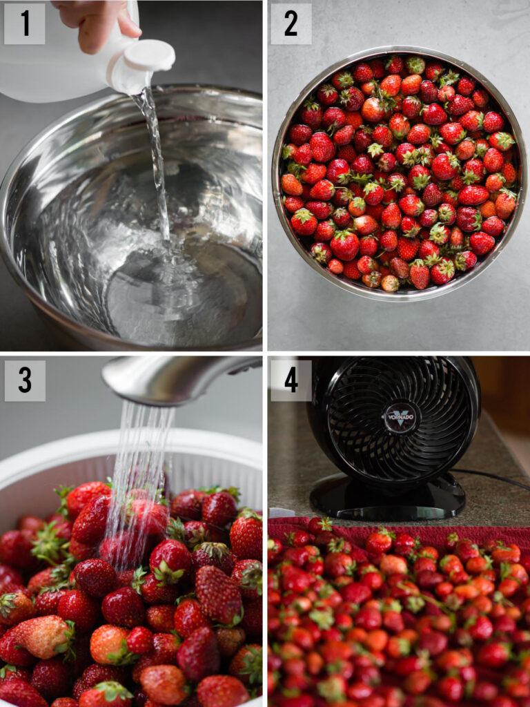 step by step photos of How to Wash Strawberries